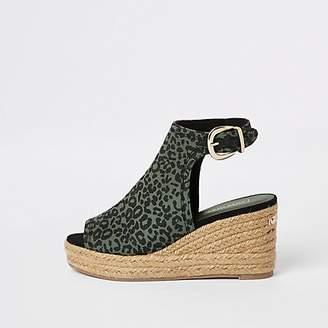 River Island Green leopard print wedge sandals