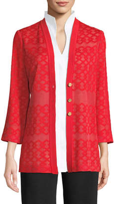 Misook Subtly Sheer Button-Front Jacket