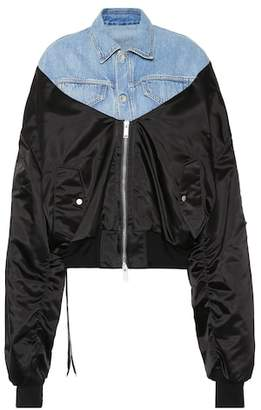 Unravel Denim mixed-fabric bomber jacket