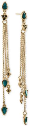 Rachel Roy Gold-Tone Multi-Stone Multi-Row Linear Drop Earrings