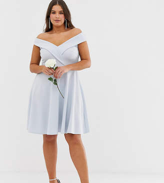 Club L London Plus Plus bridesmaid bardot detail skater dress dbd1ab332