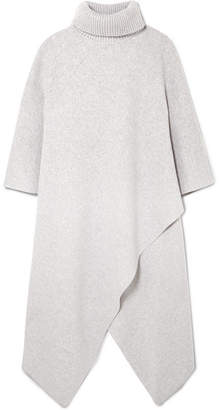 Chloé Oversized Cashmere Turtleneck Poncho - Light gray