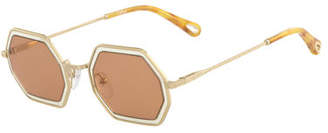 Chloé Tally Hexagonal Metal Sunglasses
