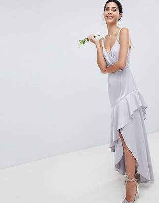 Asos Design DESIGN Pearl Trim Strap Maxi Dress With Ruffle Skirt