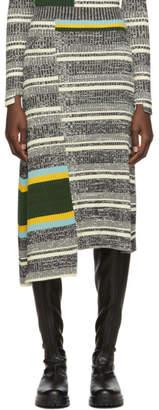 Victoria Beckham Black and White Asymmetric Flared Skirt