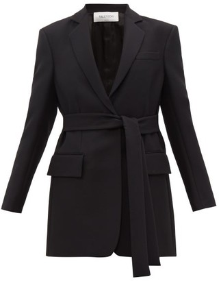 Valentino Single Breasted Belted Silk Blend Crepe Jacket - Womens - Black
