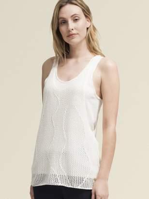 DKNY Linen-Cotton Scoop Neck Tank