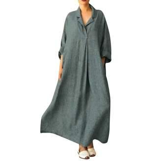 0fab6c26f9c4 Amacok Women Long Dress, Casual Turn-Down Collar Loose Cotton Linen Plus  Size Kaftan