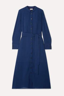 Cefinn - Belted Voile Midi Dress - Cobalt blue