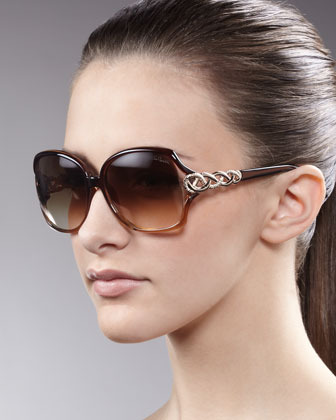 Roberto Cavalli Woven-Temple Sunglasses, Brown