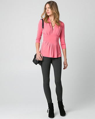 Le Château Brushed Jersey V-Neck Pleated Top