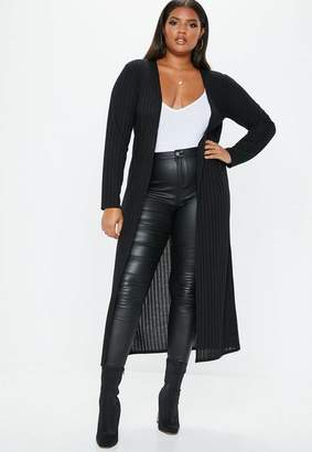 Missguided Plus Size Black Ribbed Longline Cardigan