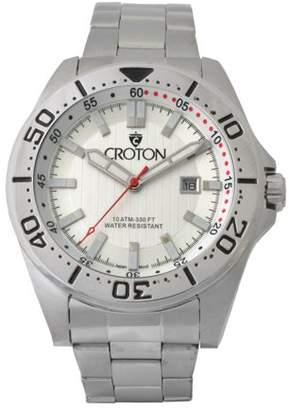 Croton Men's Stainless Bracelet Watch with Silver Dial & Rotating Bezel