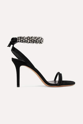 Isabel Marant Alrin Crystal-embellished Suede Sandals - Black