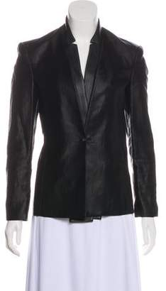 J Brand Leather-Accented Button-Up Blazer