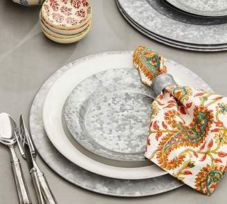 Pottery Barn Block Print Napkin - Orange Paisley