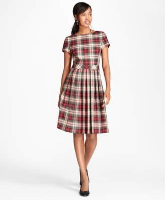 Brooks Brothers Pleated Tartan Wool Twill Dress