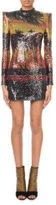 Balmain Long-Sleeve Sequined Palm-Print Mini Dress
