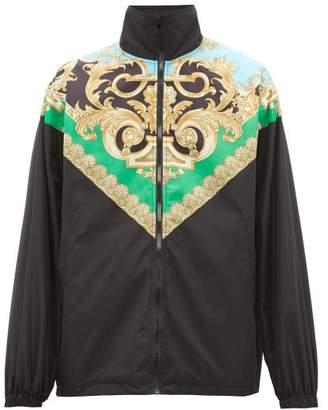 Versace Baroque Print Lightweight Jacket - Mens - Black Green