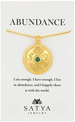 Satya Jewelry Gold Emerald Mandala Pendant Necklace