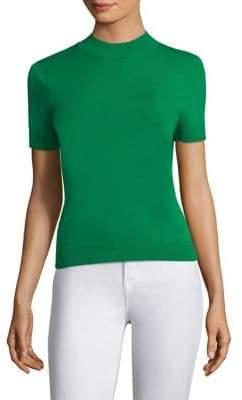 Milly Mockneck Short-Sleeve Top