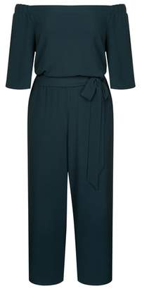 City Chic Aflutter Off the Shoulder Jumpsuit