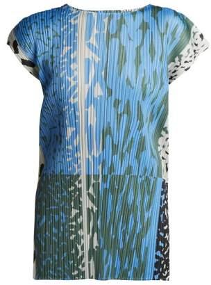 Pleats Please Issey Miyake Flash Printed Pleated Top - Womens - Blue Print
