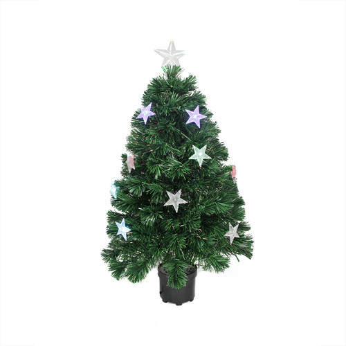 Northlight 4' Color Changing Fiber Optic Christmas Tree with LED Light Stars