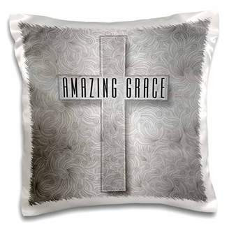 3dRose Amazing Grace Silver Christian Cross with Swirls Elegant and Simple - Pillow Case, 16 by 16-inch