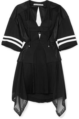 Alexander Wang Striped Cutout Pleated Mesh And Georgette Mini Dress - Black