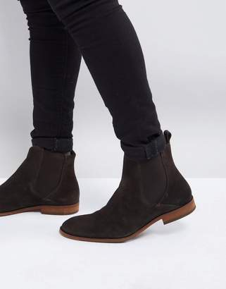 Zign Shoes Suede Chelsea Boots In Brown