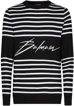 Balmain Stripe Logo Sweater