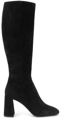 Prada square-toe knee-length boots