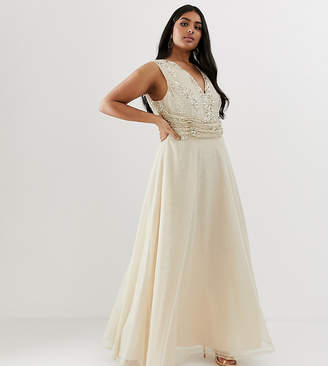Asos DESIGN Curve maxi dress with drape pearl and sequin bodice