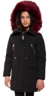 Dex Girl's Faux Fur Drawcord Coat