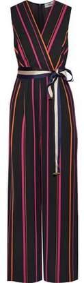 Diane von Furstenberg Wrap-Effect Striped Twill Jumpsuit