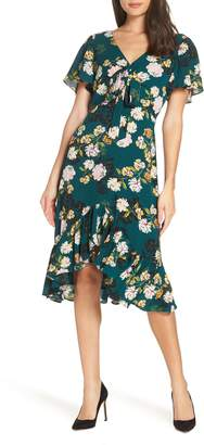 Charles Henry Floral Print Ruffle Hem Dress