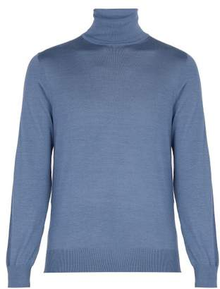 Ermenegildo Zegna Roll Neck Cashmere And Silk Blend Sweater - Mens - Blue