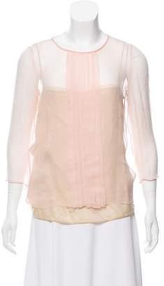 Prada Long Sleeve Pleated Top