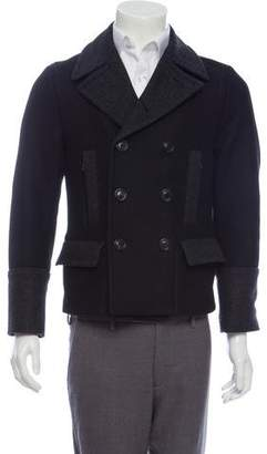 Dolce & Gabbana Quilted-Accented Double-Breasted Peacoat w/ Tags
