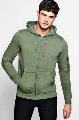 boohoo MA1 Pocket Zip Through Hoodie