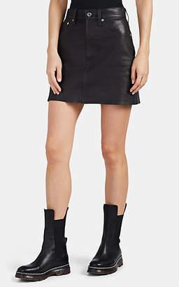 Helmut Lang Women's Leather Miniskirt - Navy