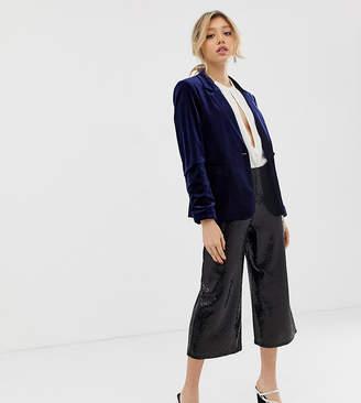 Miss Selfridge Petite wide leg pants in black glitter