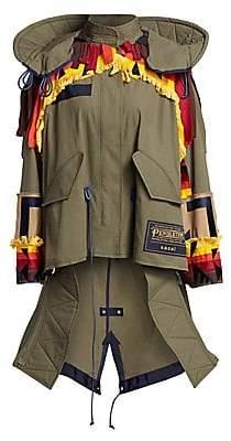 Sacai Women's Pendleton Oxford Embroidred Coat