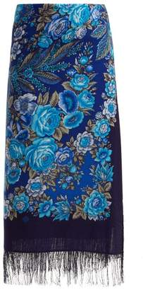 Vetements Rose Print Scarf Wool Midi Skirt - Womens - Blue Multi