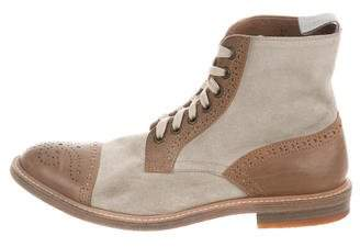 Brunello Cucinelli Suede Brogue Ankle Boots