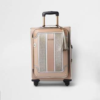 River Island Womens Beige panel glitter four wheel suitcase