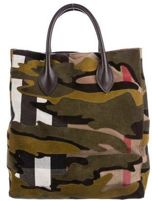 Burberry Camouflage Canvas Tote