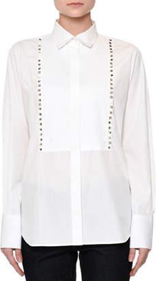 Valentino Long-Sleeve Rockstud-Trim Blouse, White