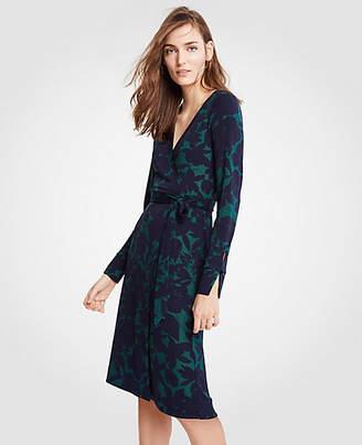 Ann Taylor Floral Button Cuff Wrap Dress
